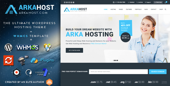 Arka Host 5.4 - WHMCS Hosting, Shop & Corporate Theme