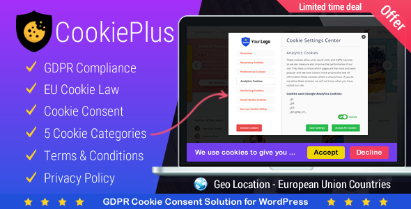 Cookie Plus GDPR 1.4.8 - GDPR Cookie Consent Solution for WordPress