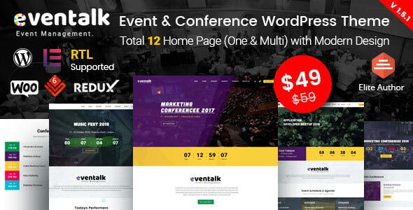 EvenTalk 1.5.2 - Event Conference WordPress Theme