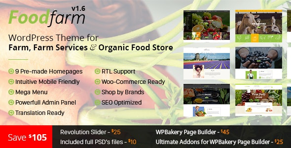 FoodFarm 1.8.6 - WordPress Theme for Farm, Farm Services and Organic Food Store