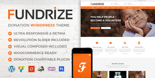 Fundrize 1.12 - Responsive Donation & Charity WordPress Theme