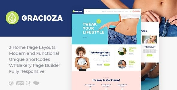 Gracioza 1.0.4 - Weight Loss Company & Healthy Blog WordPress Theme