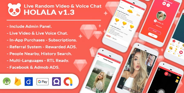 Holala 1.3 - Live Random Video - Voice Calls + Admin Panel