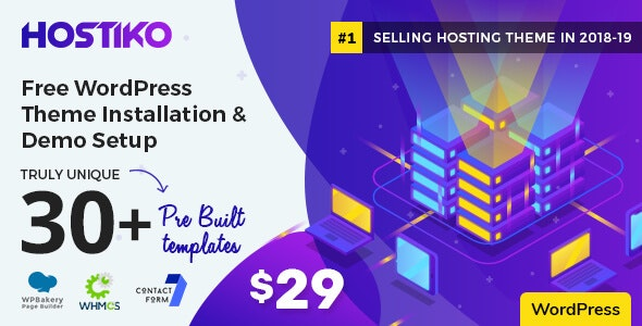 Hostiko 30.0.1 (Nulled) - WordPress WHMCS Hosting Theme