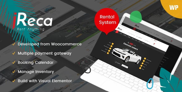 Ireca 1.2.3 - Car Rental Boat, Bike, Vehicle, Calendar WordPress Theme