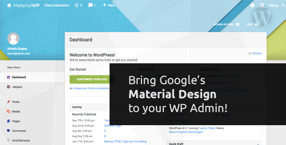 Material WP 1.0.5 - Material Design Dashboard Theme