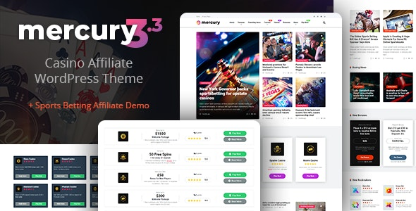 Mercury 3.4.1 - Gambling & Casino Affiliate WordPress Theme. News & Reviews