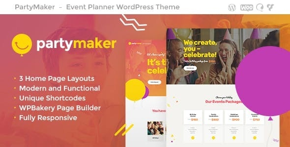 PartyMaker 1.1.2 - Event Planner & Wedding Agency WordPress Theme