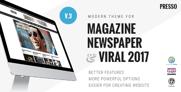 Presso 3.3.5 - Modern Magazine / Newspaper / Viral WordPress Theme