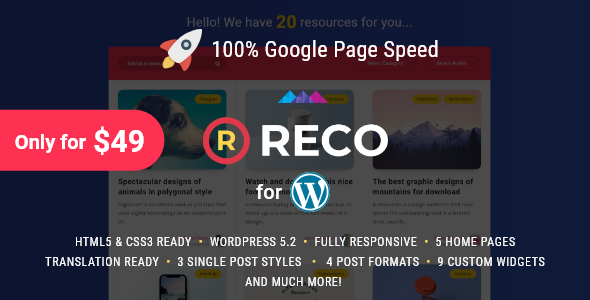 Reco 4.5.5 Nulled - Minimal Theme for Freebies Free Download