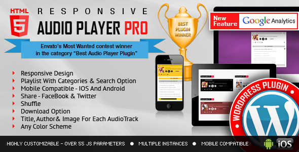 Responsive HTML5 Audio Player Pro WordPress Plugin 2.8.2