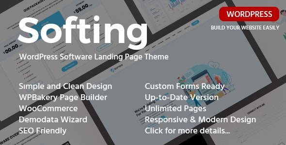 Softing 1.3.3 - Landing Page WordPress Theme