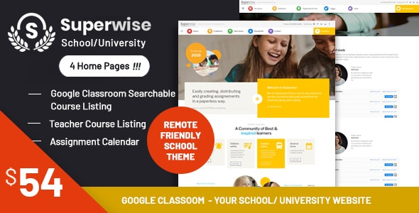 Superwise 2.9.1 - Modern Education and Google Classroom WordPress Theme