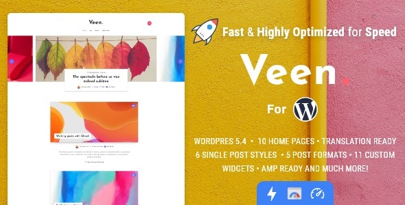 Veen 1.2.3 Nulled - Minimal & Lightweight Blog for WordPress