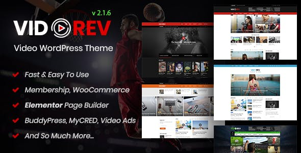 VidoRev 2.9.9.9.7.5 Nulled - Video WordPress Theme