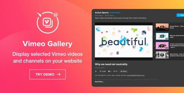 Vimeo Gallery 1.1.0 - WordPress Vimeo plugin