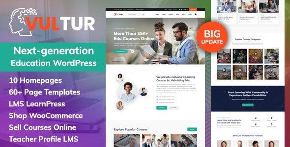 Vultur 1.1.0 - Coach Online Courses & LMS Education WordPress