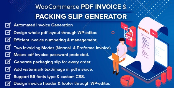 WooCommerce PDF Invoice & Packing Slip Generator 1.4.0 Nulled