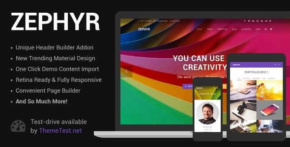 Zephyr 7.8.4 Nulled - Material Design WordPress Theme