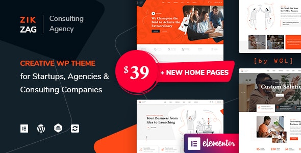 ZikZag 1.1.0 Nulled - Consulting & Agency WordPress Theme