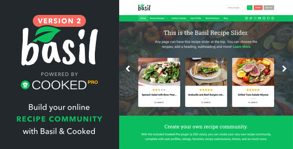 Basil Recipes 2.0.1 - A Recipe-Powered WordPress Theme