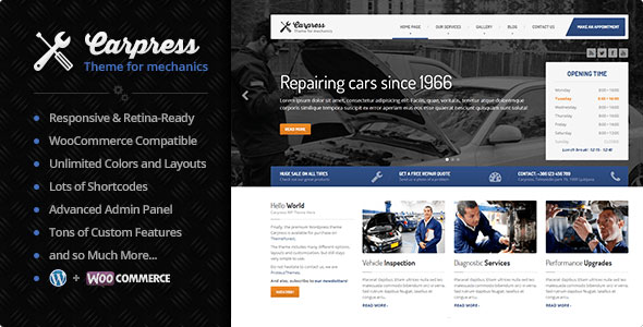 Carpress WordPress Theme For Mechanic Workshops