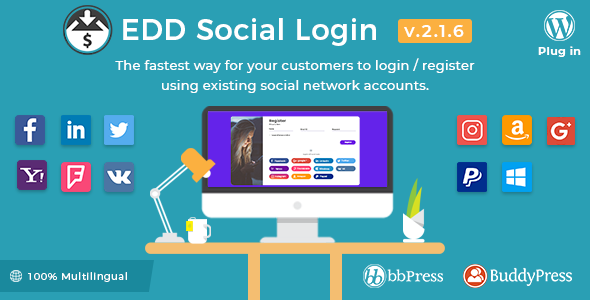 Easy Digital Downloads 2.1.6 - Social Login WordPress Plugin