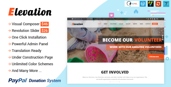 Elevation 2.2.5 - Charity/Nonprofit/Fundraising WP Theme