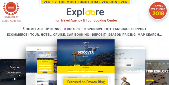 Exploore Tour Booking Travel WordPress Theme