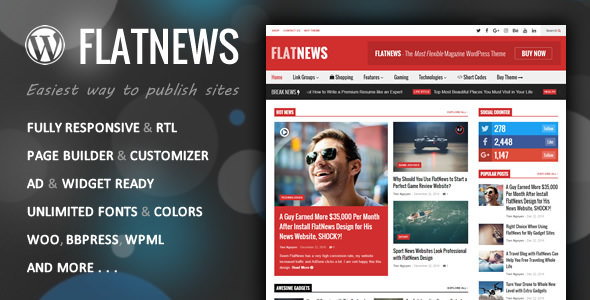 FlatNews 3.8 – Responsive Magazine WordPress Theme