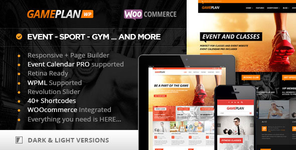 Gameplan 1.5.18 - Event and Gym Fitness Theme