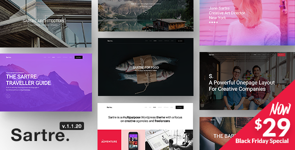 Sartre 1.1.20 - Responsive Multipurpose WordPress Theme for Creatives