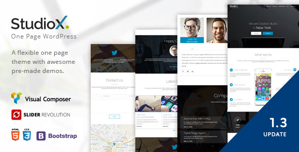 StudioX 1.3 - One Page WordPress Theme