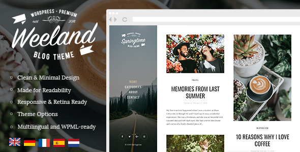 Weeland 1.2.2 - Masonry Lifestyle WordPress Blog Theme