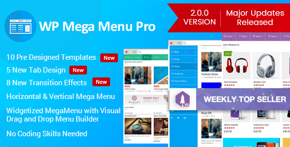 WP Mega Menu Pro 2.0.3 - Responsive Mega Menu Plugin for WordPress