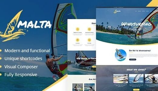 Malta-Windsurfing-Kitesurfing&Wakesurfing-Center-WP-Theme-Nulled-download