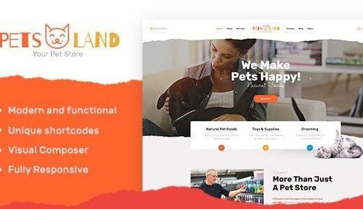 Pets-Land-Nulled-Domestic-Animals-Shop&Veterinary-WordPress-Theme-Download