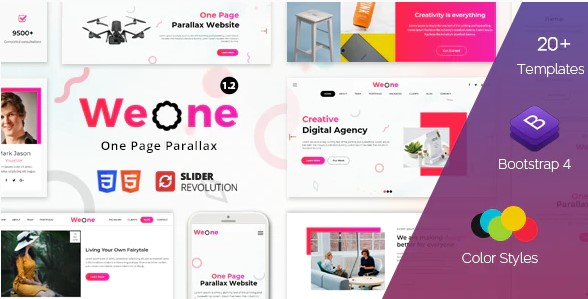 Weone-One-Page-Parallax-HTML5-Nulled-Download